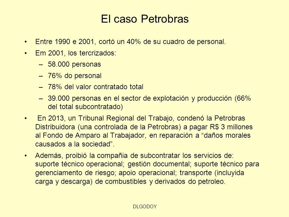 El caso PetrobrasEntre 1990 e 2001, cortó un 40% de su cuadro de personal. Em 2001, los tercrizados: