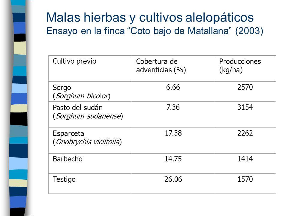 Malas hierbas y cultivos alelopáticos Ensayo en la finca Coto bajo de Matallana (2003)