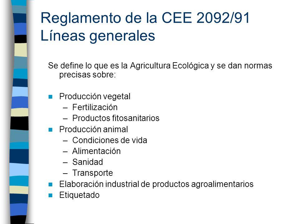 Reglamento de la CEE 2092/91 Líneas generales