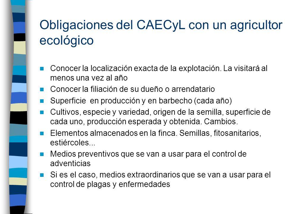 Obligaciones del CAECyL con un agricultor ecológico