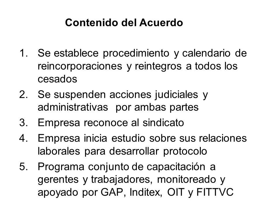 Contenido del Acuerdo Se establece procedimiento y calendario de reincorporaciones y reintegros a todos los cesados.