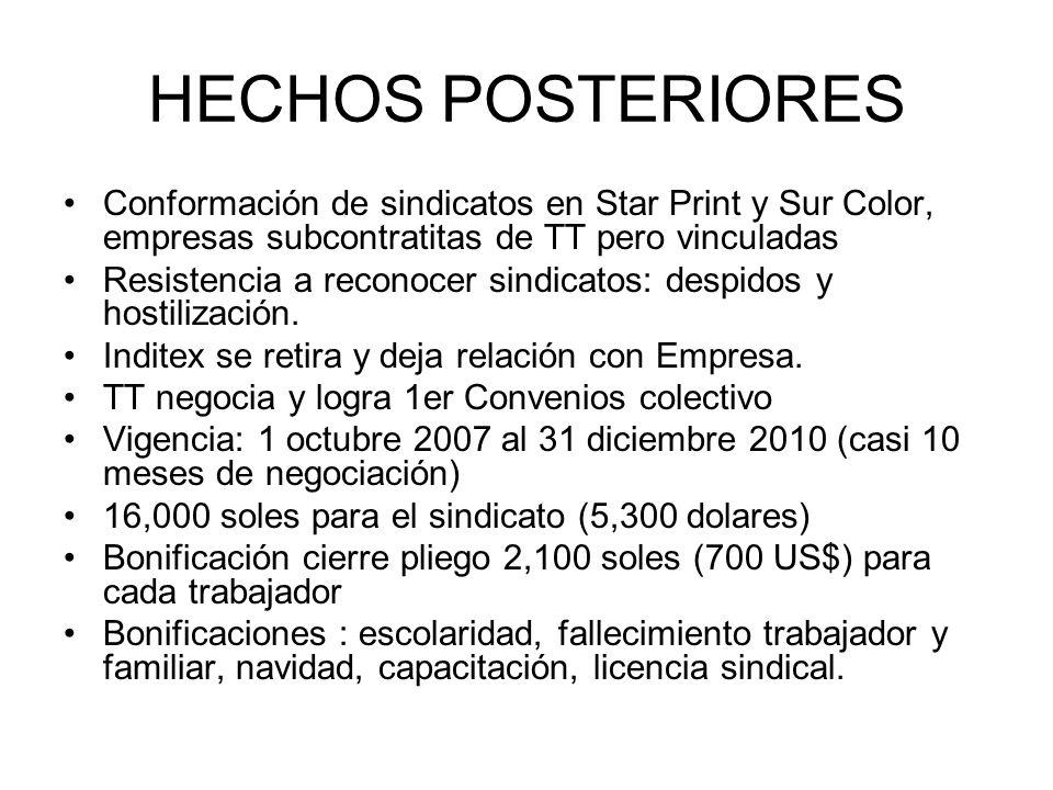 HECHOS POSTERIORES Conformación de sindicatos en Star Print y Sur Color, empresas subcontratitas de TT pero vinculadas.