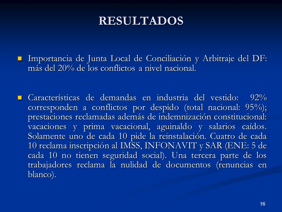 RESULTADOS Importancia de Junta Local de Conciliación y Arbitraje del DF: más del 20% de los conflictos a nivel nacional.