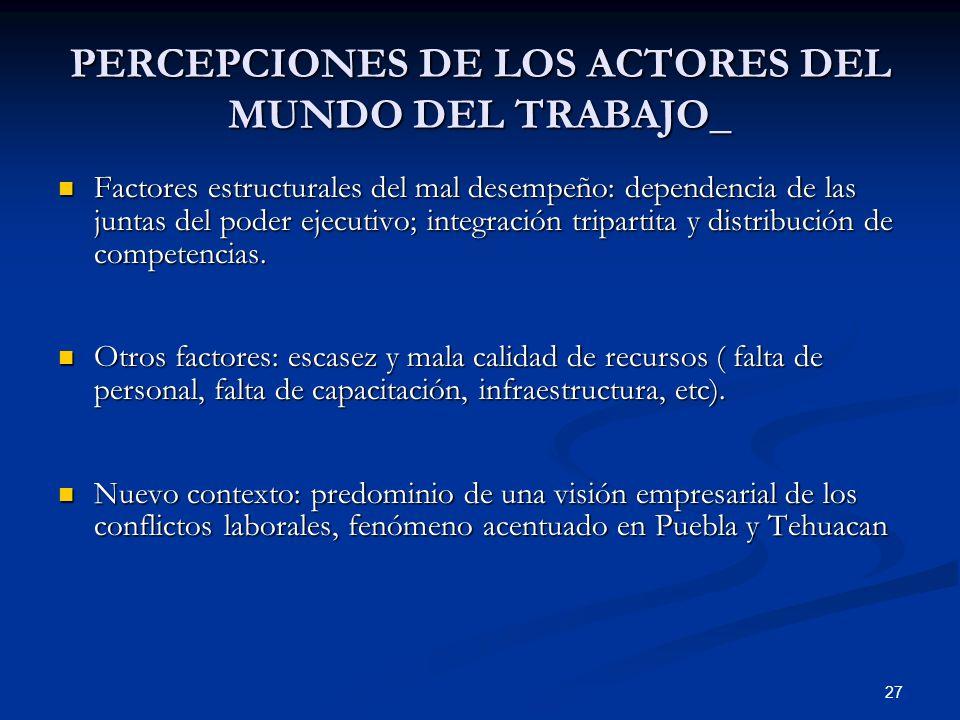 PERCEPCIONES DE LOS ACTORES DEL MUNDO DEL TRABAJO_