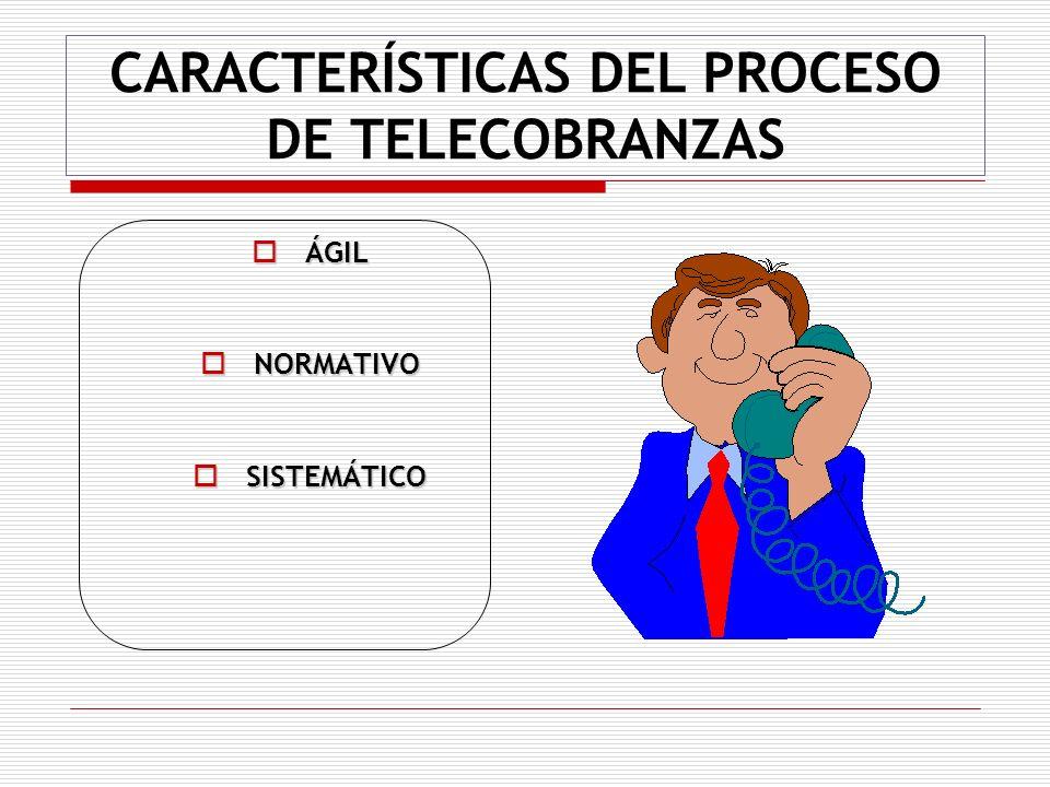 CARACTERÍSTICAS DEL PROCESO DE TELECOBRANZAS