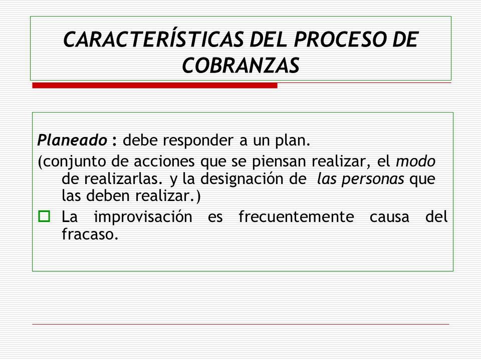 CARACTERÍSTICAS DEL PROCESO DE COBRANZAS