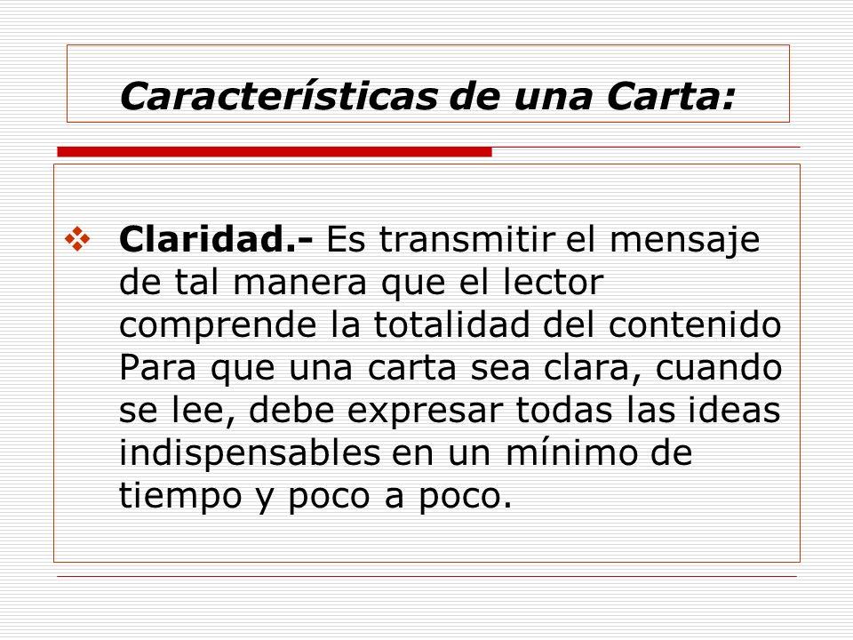 Características de una Carta: