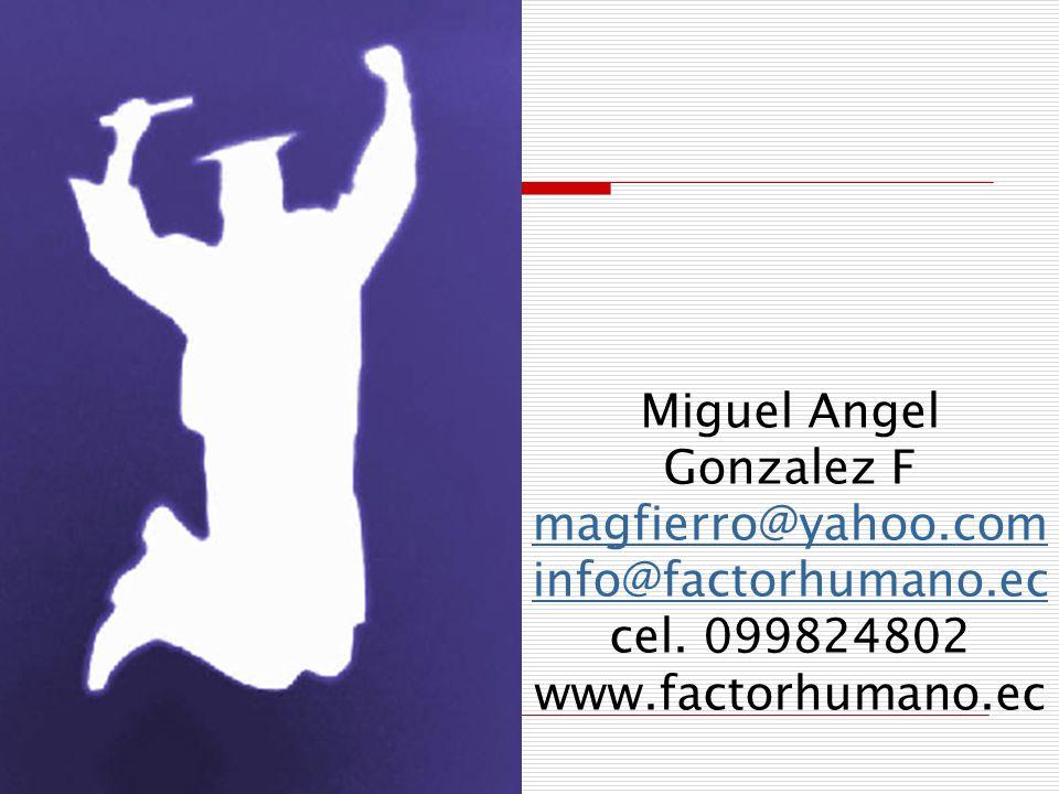 Miguel Angel Gonzalez F magfierro@yahoo. com info@factorhumano. ec cel