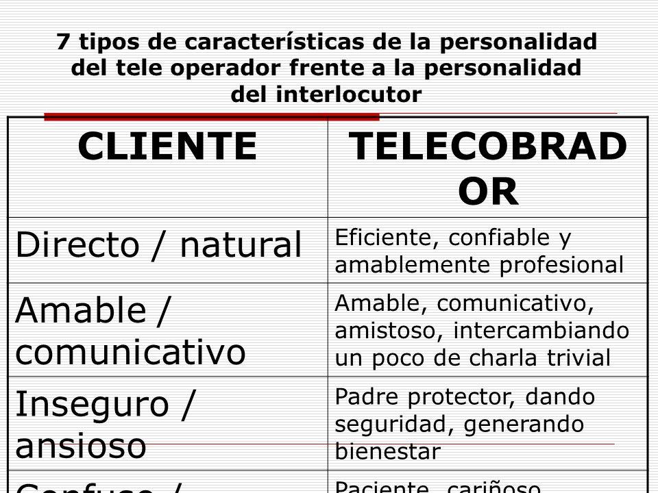 CLIENTE TELECOBRADOR Directo / natural Amable / comunicativo