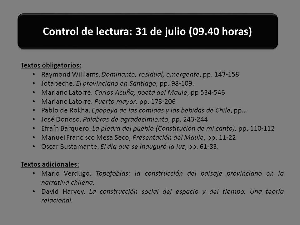Control de lectura: 31 de julio (09.40 horas)