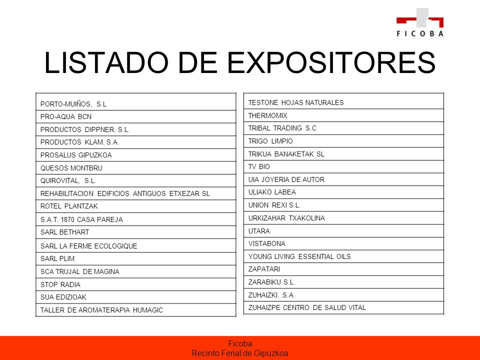 LISTADO DE EXPOSITORES