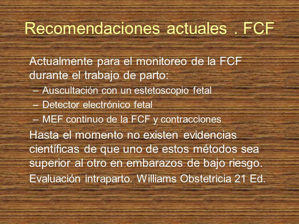 Recomendaciones actuales . FCF