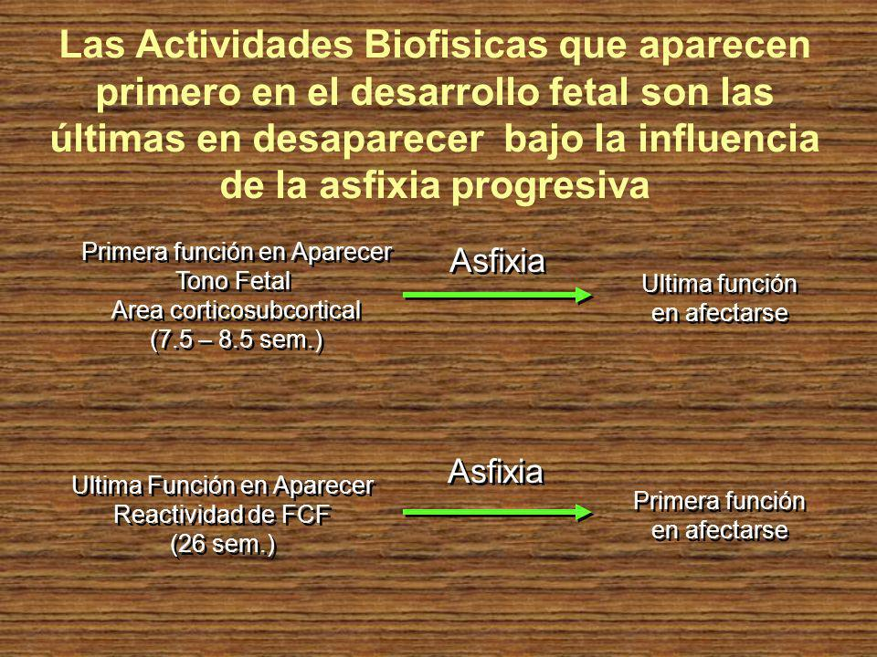 Las Actividades Biofisicas que aparecen primero en el desarrollo fetal son las últimas en desaparecer bajo la influencia de la asfixia progresiva