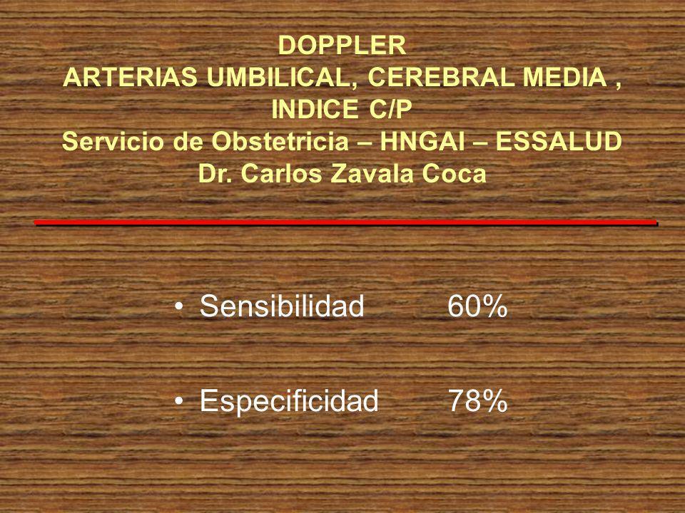 Sensibilidad 60% Especificidad 78%
