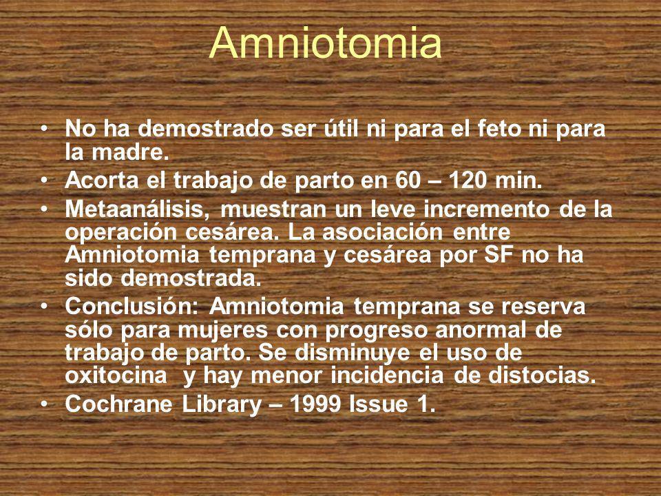 Amniotomia No ha demostrado ser útil ni para el feto ni para la madre.