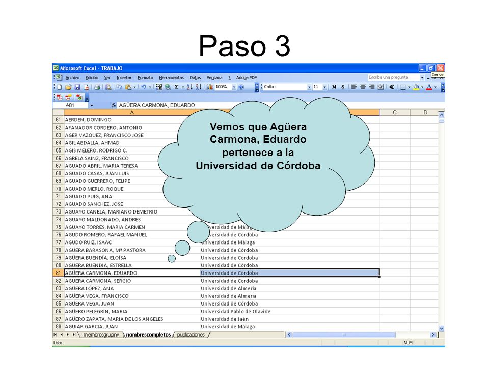 Paso 3 Vemos que Agüera Carmona, Eduardo pertenece a la Universidad de Córdoba