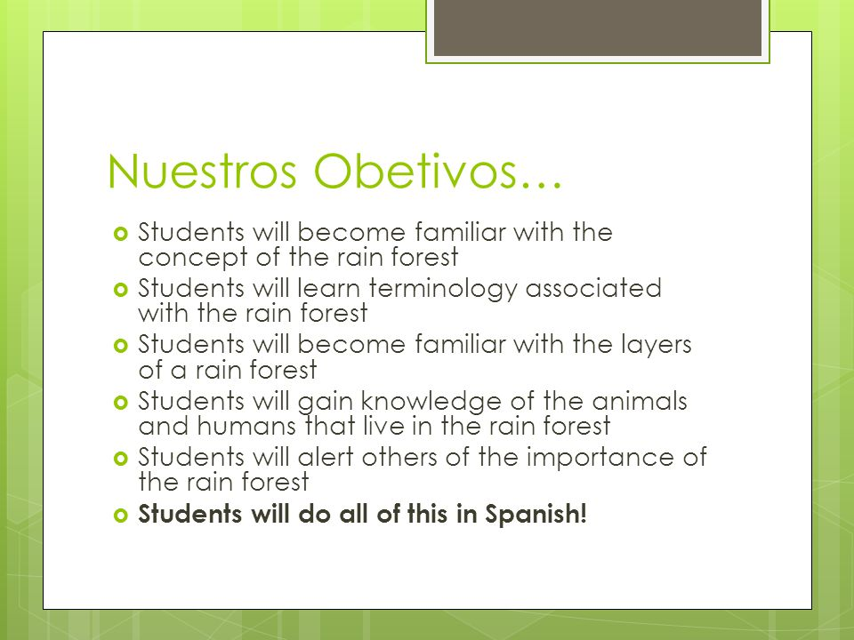 Nuestros Obetivos…Students will become familiar with the concept of the rain forest. Students will learn terminology associated with the rain forest.