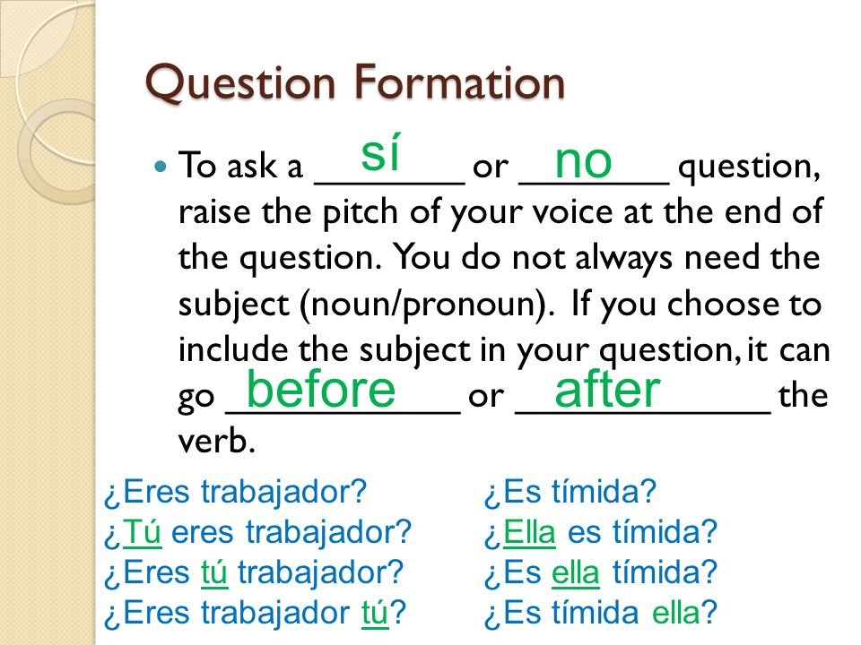 sí no before after Question Formation