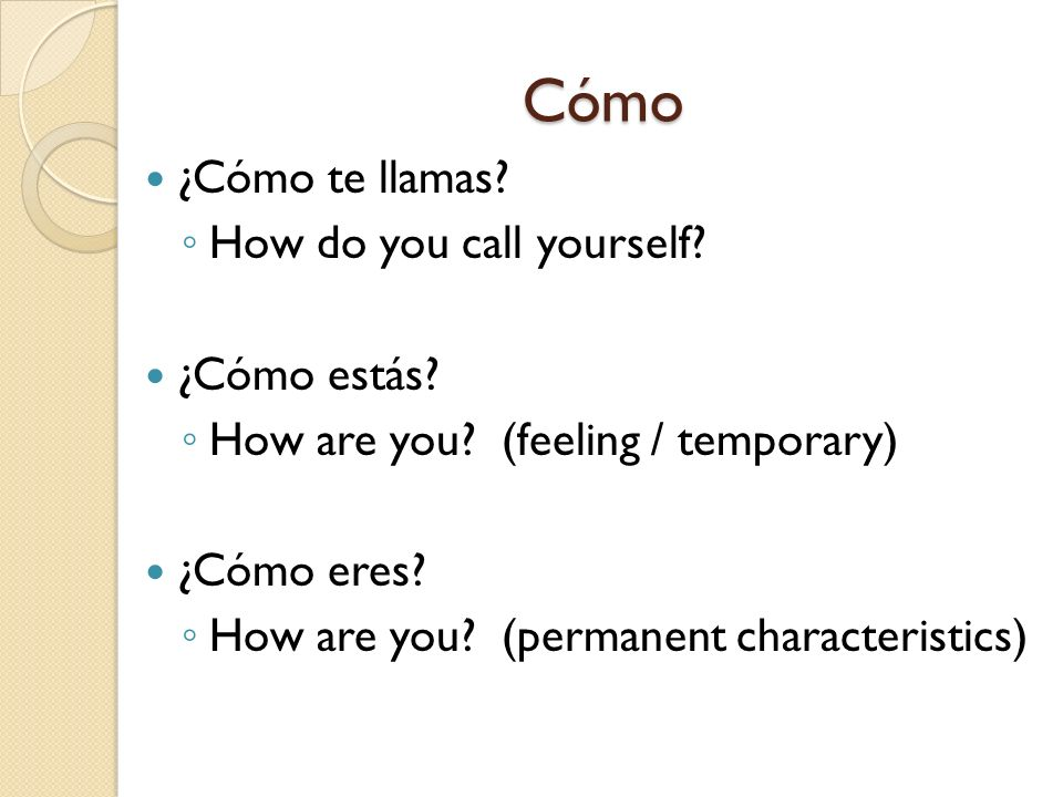 Cómo ¿Cómo te llamas How do you call yourself ¿Cómo estás