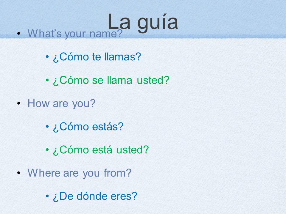 La guía What's your name ¿Cómo te llamas ¿Cómo se llama usted