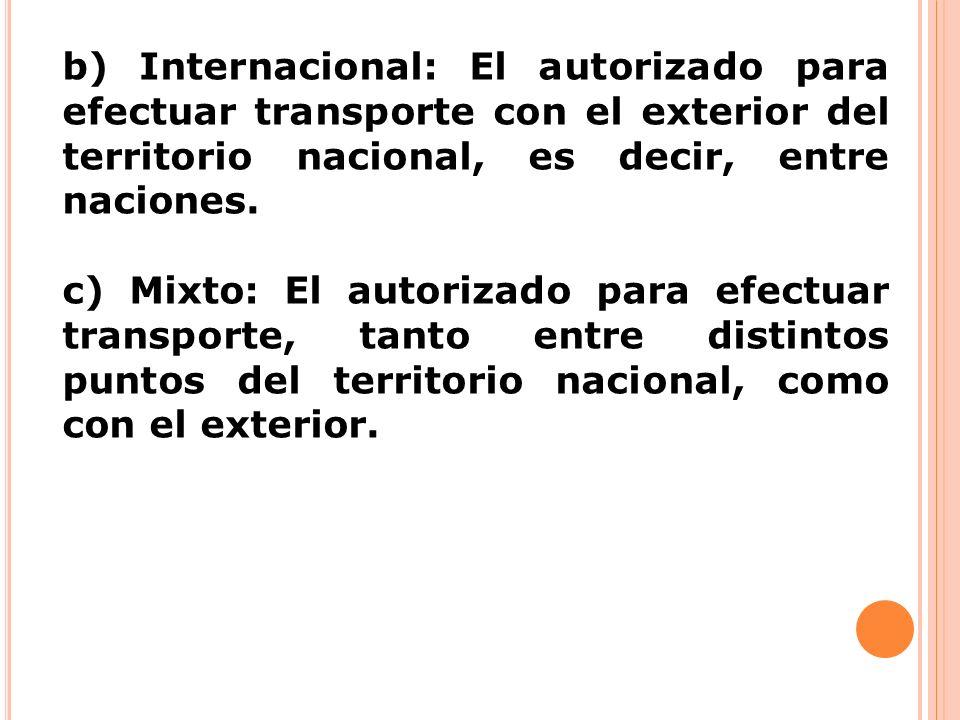 b) Internacional: El autorizado para efectuar transporte con el exterior del territorio nacional, es decir, entre naciones.