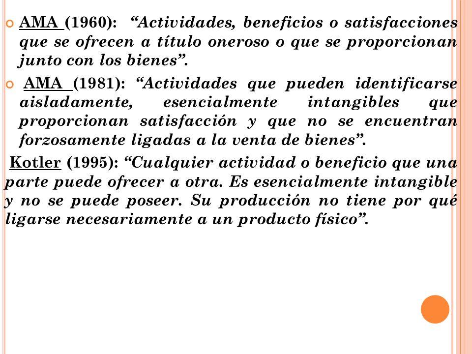 AMA (1960): Actividades, beneficios o satisfacciones que se ofrecen a título oneroso o que se proporcionan junto con los bienes .