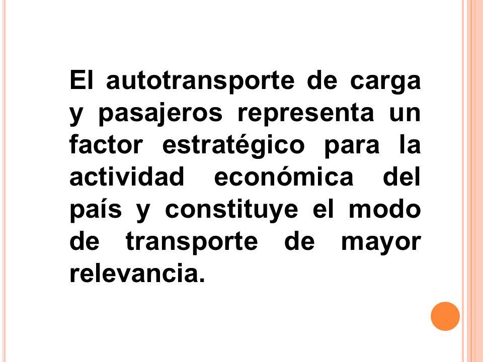 El autotransporte de carga y pasajeros representa un factor estratégico para la actividad económica del país y constituye el modo de transporte de mayor relevancia.