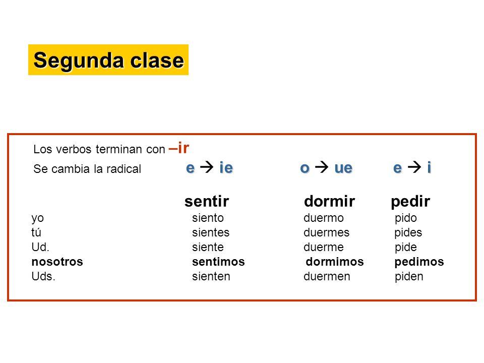 Segunda clase Los verbos terminan con –ir