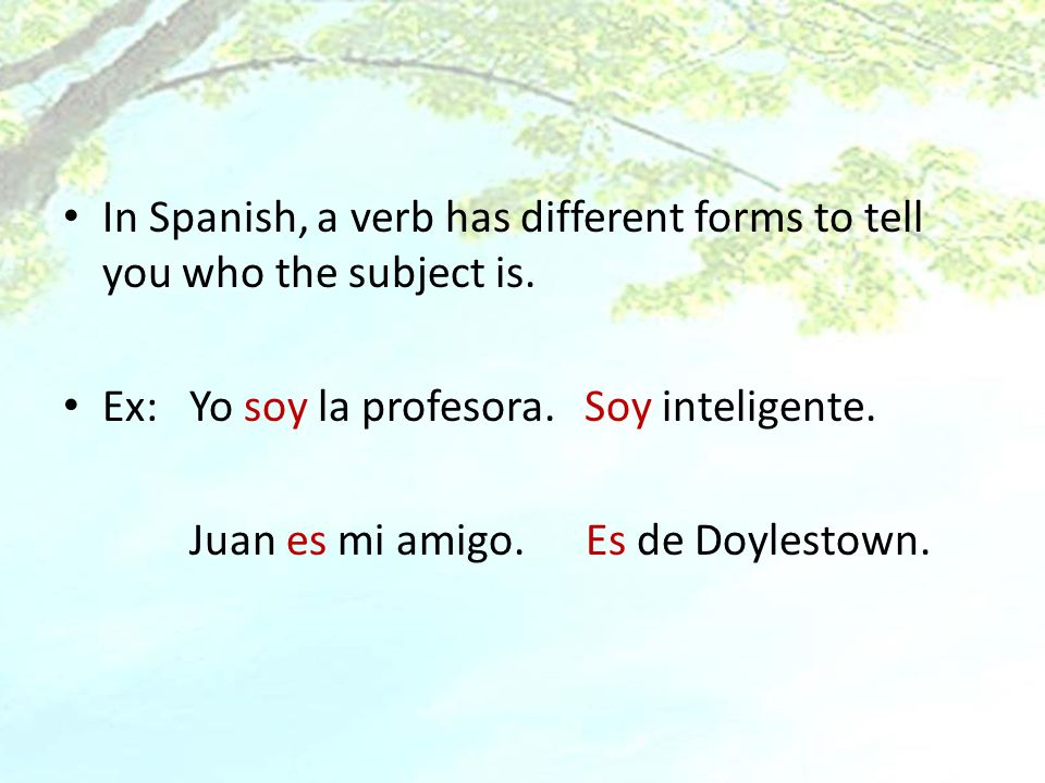 In Spanish, a verb has different forms to tell you who the subject is.