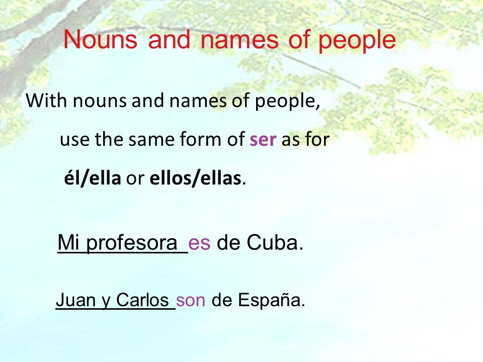 Nouns and names of people
