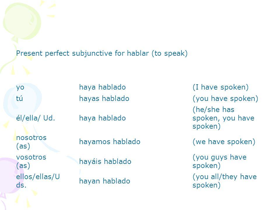Present perfect subjunctive for hablar (to speak)