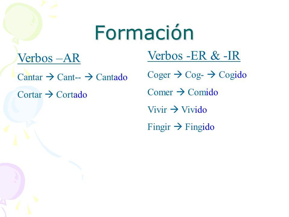 Formación Verbos -ER & -IR Verbos –AR Coger  Cog-  Cogido