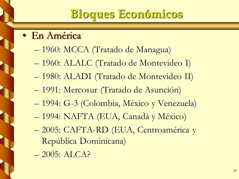 Bloques Económicos En América 1960: MCCA (Tratado de Managua)