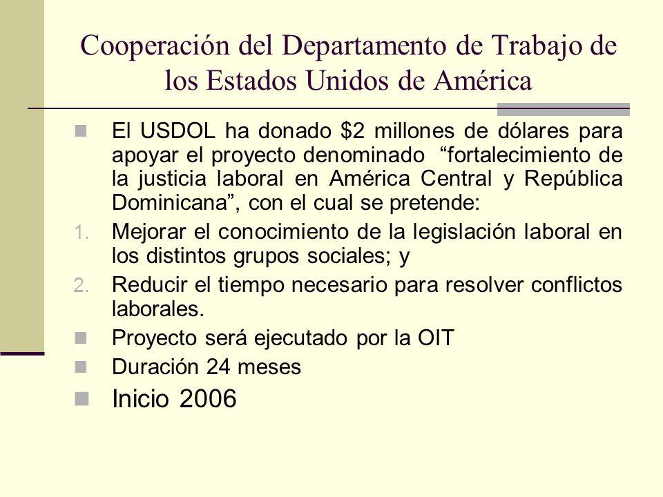 Cooperación del Departamento de Trabajo de los Estados Unidos de América