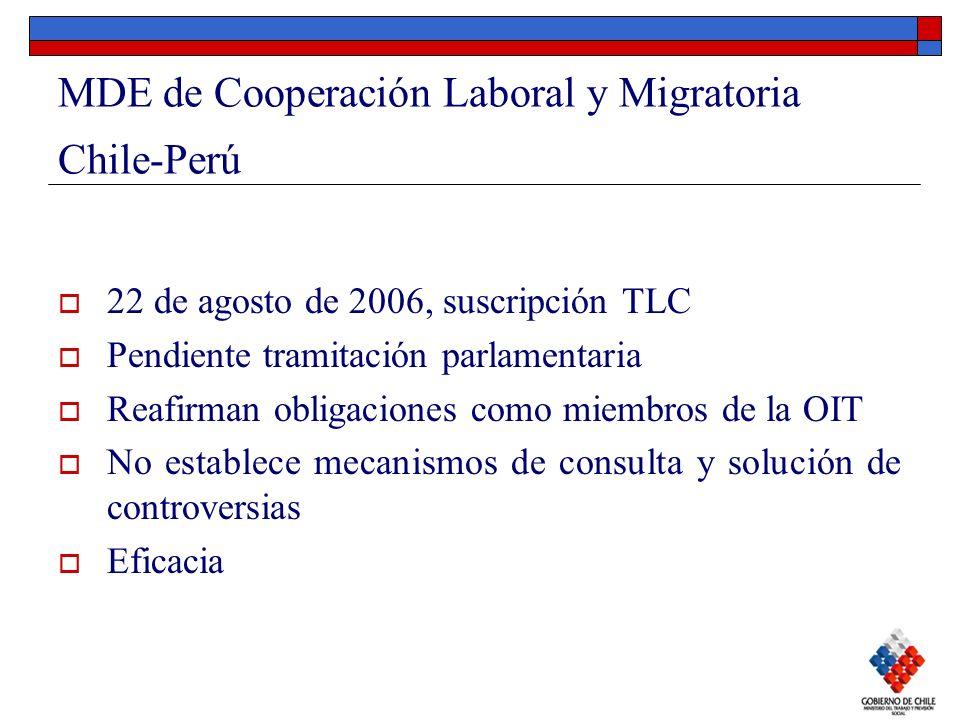MDE de Cooperación Laboral y Migratoria Chile-Perú