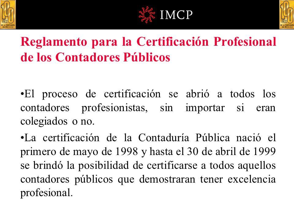 Reglamento para la Certificación Profesional de los Contadores Públicos