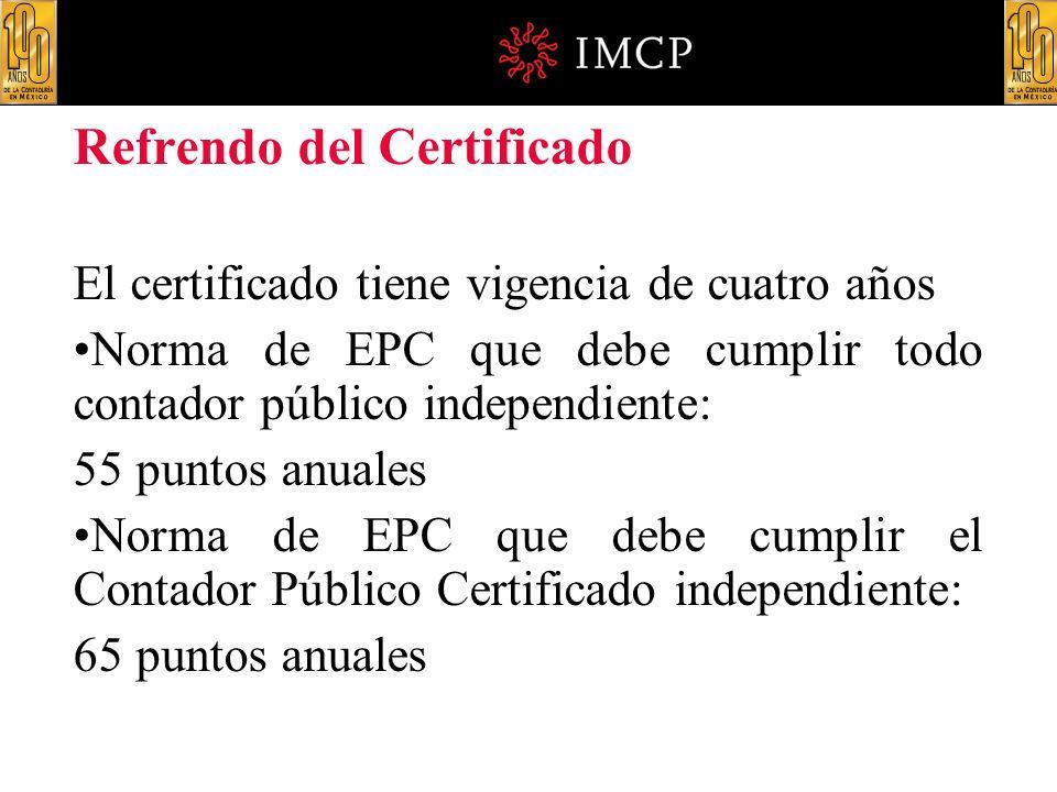 Refrendo del Certificado