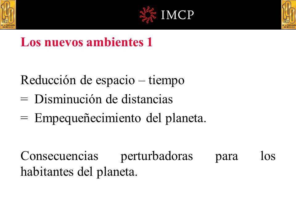 Los nuevos ambientes 1 Reducción de espacio – tiempo. = Disminución de distancias. = Empequeñecimiento del planeta.