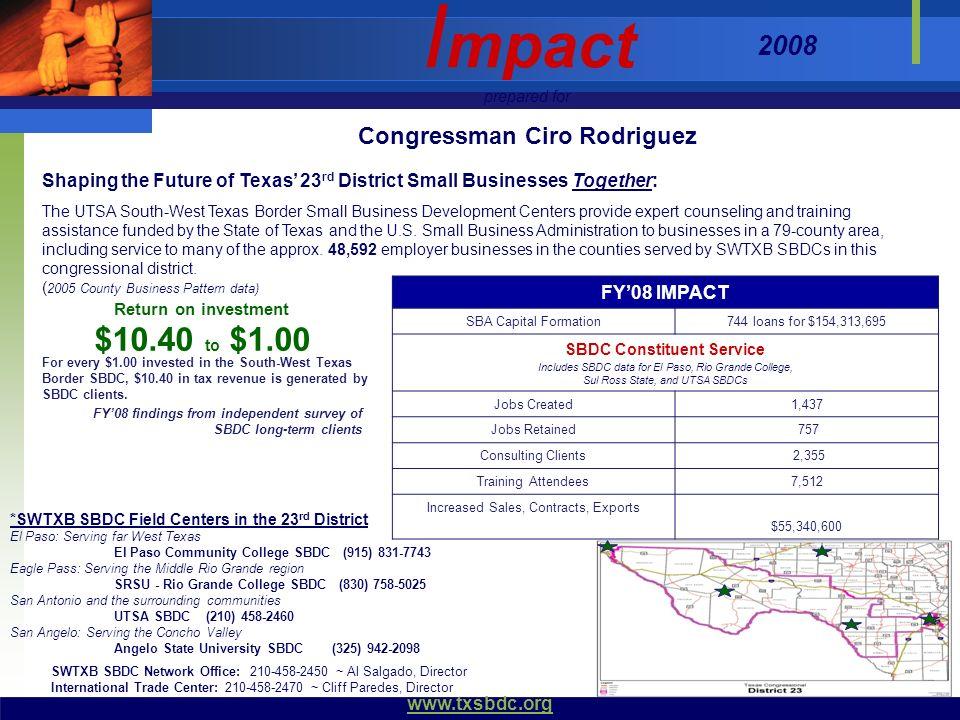 Congressman Ciro Rodriguez SBDC Constituent Service