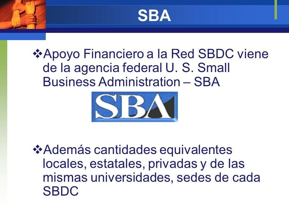 SBAApoyo Financiero a la Red SBDC viene de la agencia federal U. S. Small Business Administration – SBA.