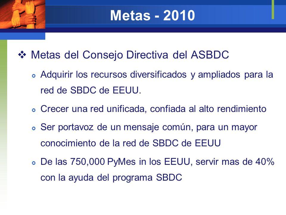 Metas - 2010 Metas del Consejo Directiva del ASBDC