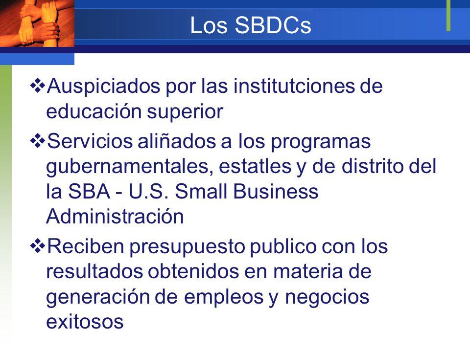 Los SBDCs Auspiciados por las institutciones de educación superior
