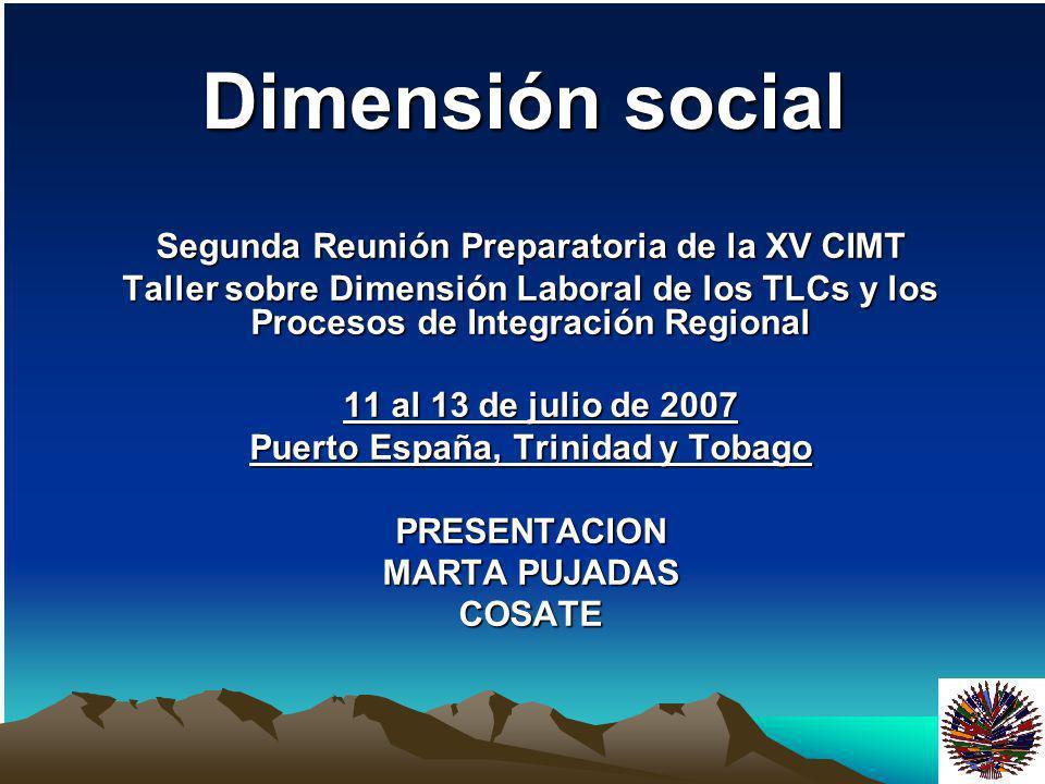 Dimensión social Segunda Reunión Preparatoria de la XV CIMT