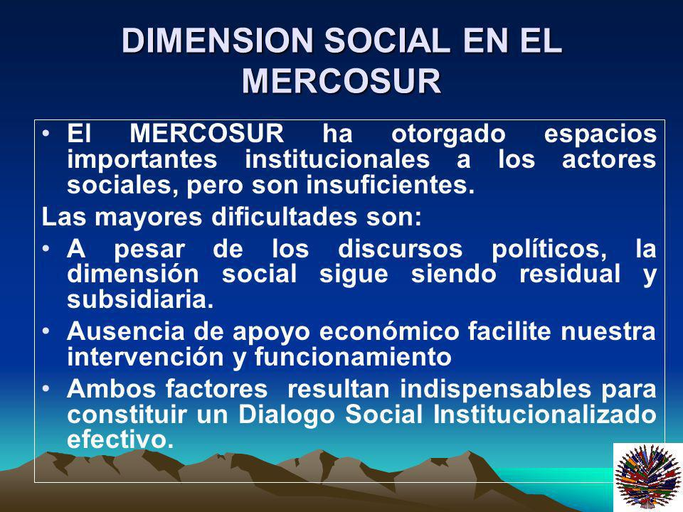 DIMENSION SOCIAL EN EL MERCOSUR