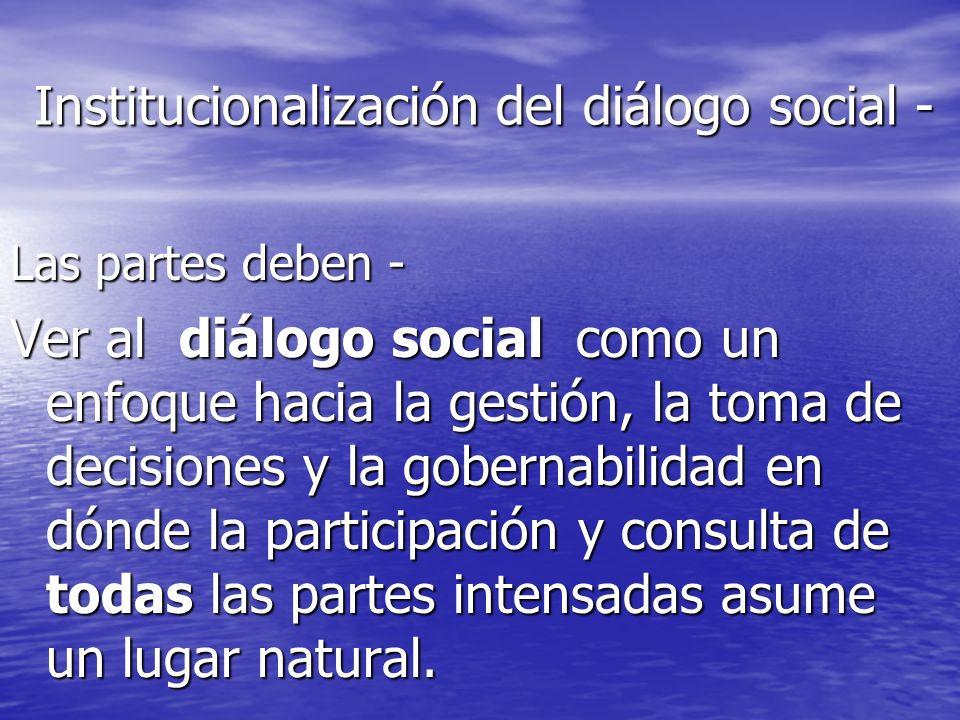 Institucionalización del diálogo social -