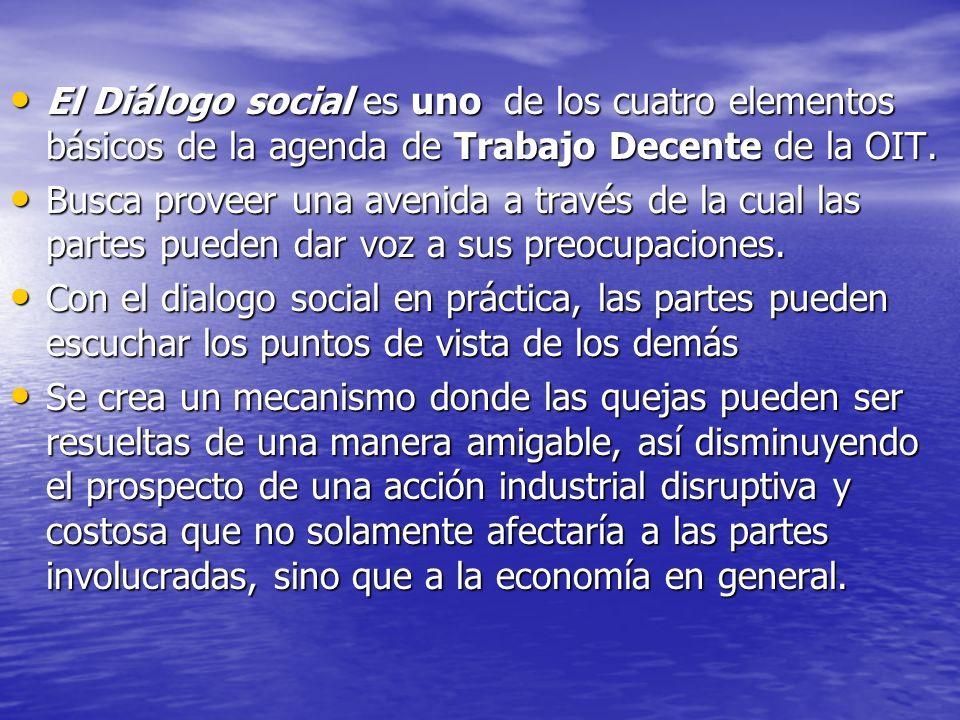 El Diálogo social es uno de los cuatro elementos básicos de la agenda de Trabajo Decente de la OIT.