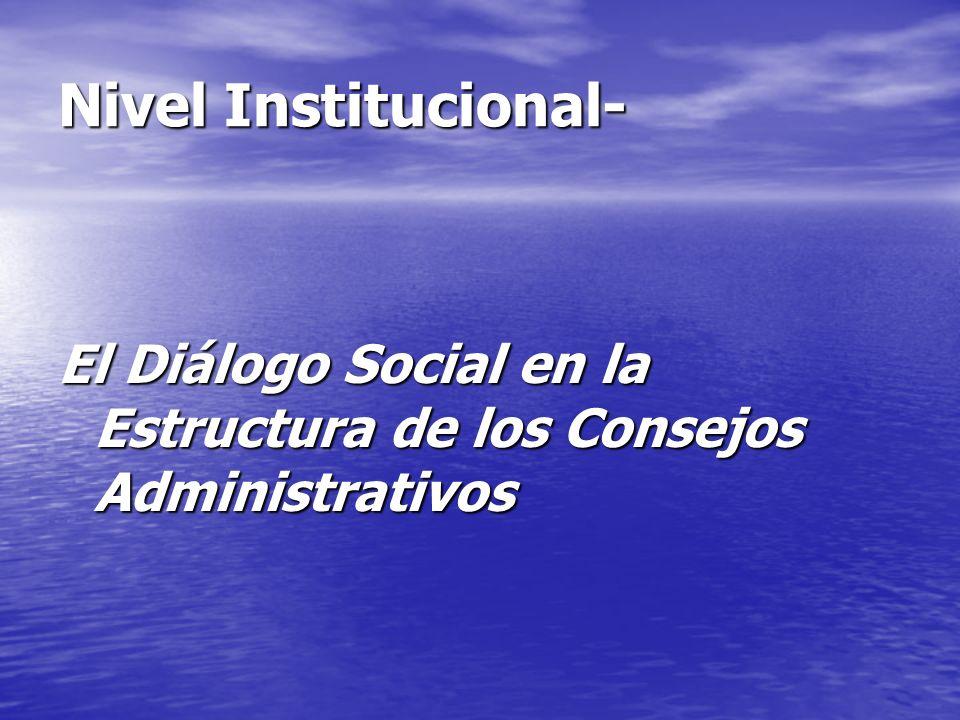 Nivel Institucional- El Diálogo Social en la Estructura de los Consejos Administrativos