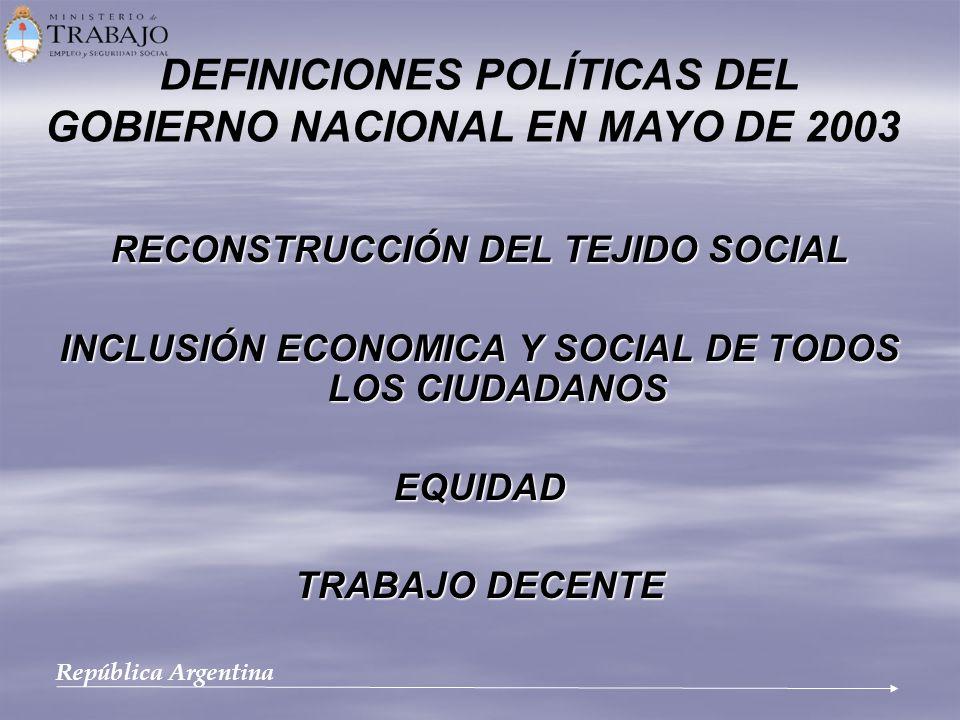 DEFINICIONES POLÍTICAS DEL GOBIERNO NACIONAL EN MAYO DE 2003