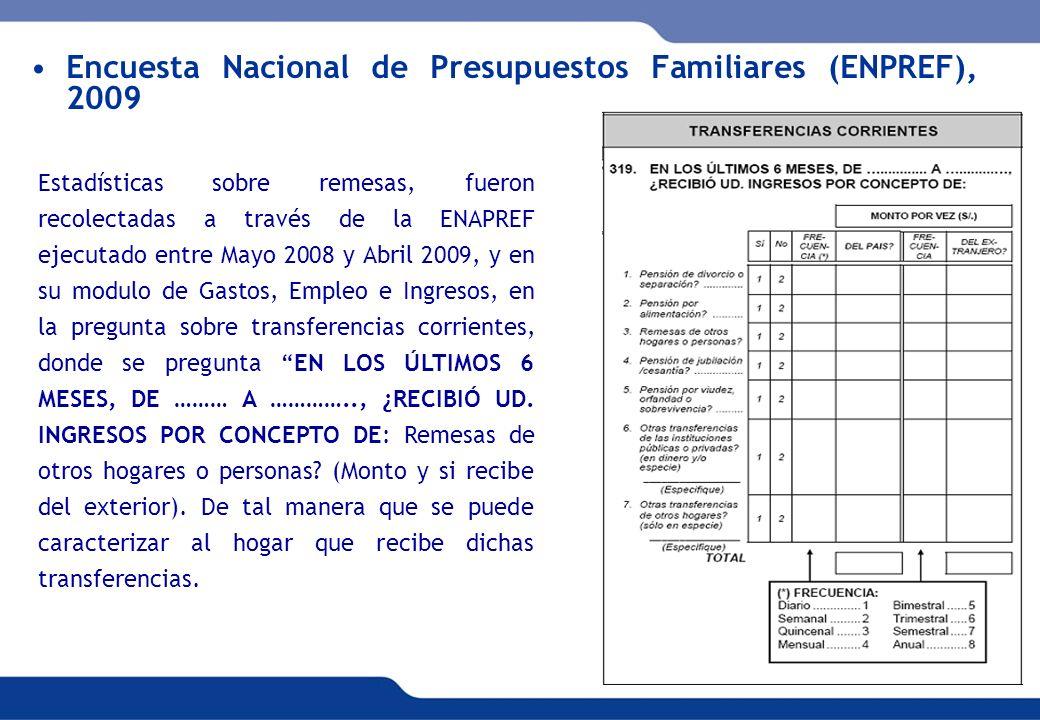 Encuesta Nacional de Presupuestos Familiares (ENPREF), 2009