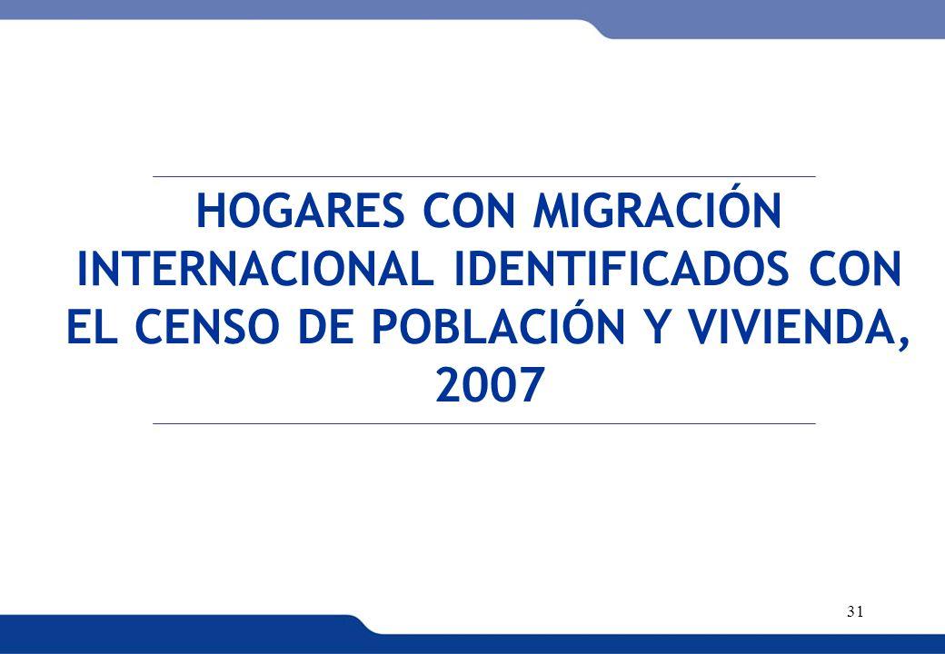 HOGARES CON MIGRACIÓN INTERNACIONAL IDENTIFICADOS CON EL CENSO DE POBLACIÓN Y VIVIENDA, 2007